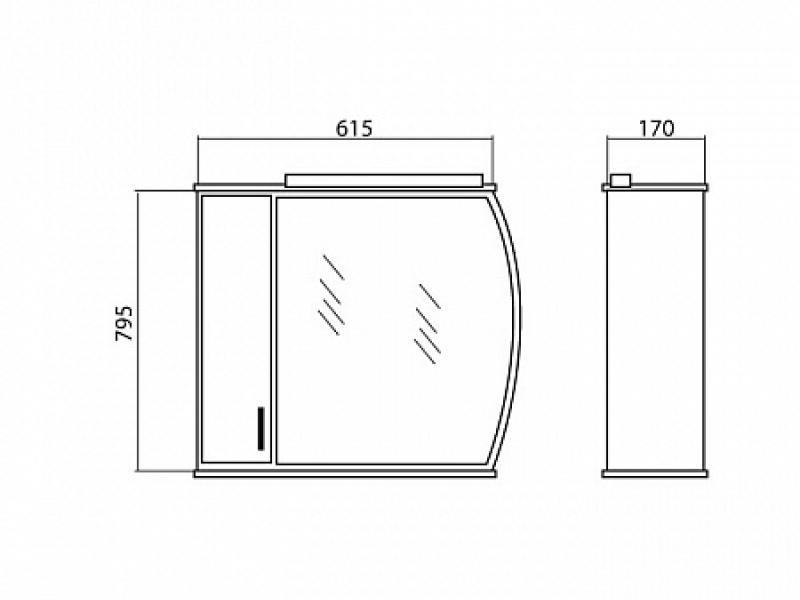 Декор 65 (L) (венге) шкаф настенный с зеркалом