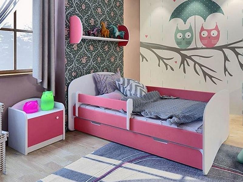 БЕЛЛА 1 Кровать с защитным бортиком, 1 нижним ящиком, без картинки