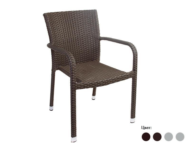 Плетеный стул с подлокотниками
