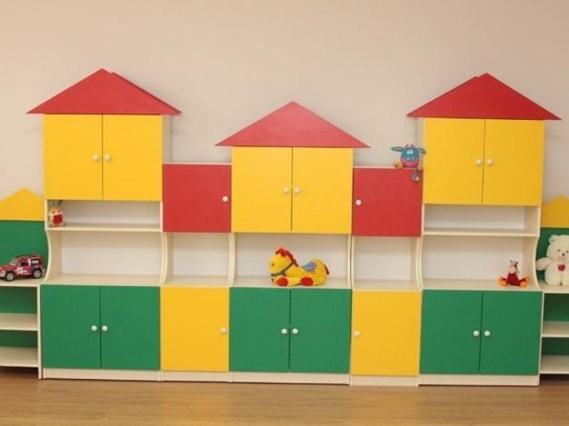 Стеллаж для книг и игрушек Домики