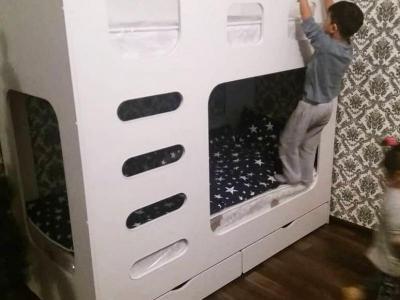 Макс 1 Кровать двухярусная белая* со встроенной лестницей, 2 ящика